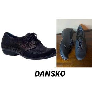Dansko Olive Oxford Black Animal Print 39
